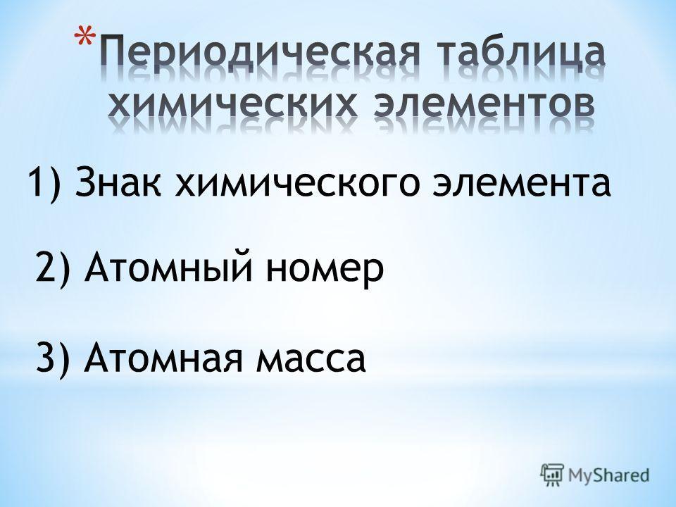 1) Знак химического элемента 2) Атомный номер 3) Атомная масса
