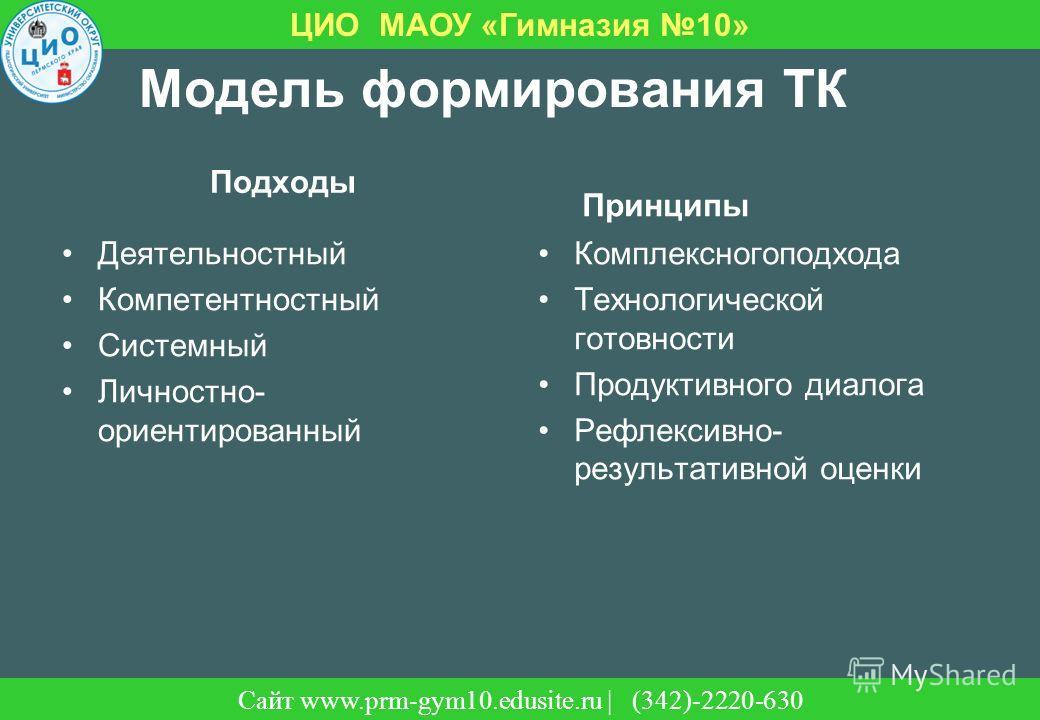 Сайт | (342)-220-630 ЦИО МАОУ «Гимназия 10» Сайт www.prm-gym10.edusite.ru | (342)-2220-630 Модель формирования ТК Подходы Деятельностный Компетентностный Системный Личностно- ориентированный Принципы Комплексногоподхода Технологической готовности Про