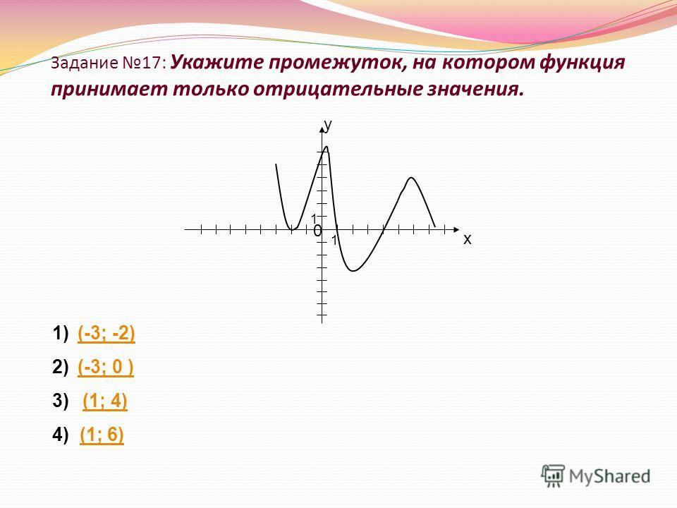 Задание 17: Укажите промежуток, на котором функция принимает только отрицательные значения. х 0 1 1 у 1)(-3; -2)(-3; -2) 2)(-3; 0 )(-3; 0 ) 3) (1; 4)(1; 4) 4) (1; 6)(1; 6)