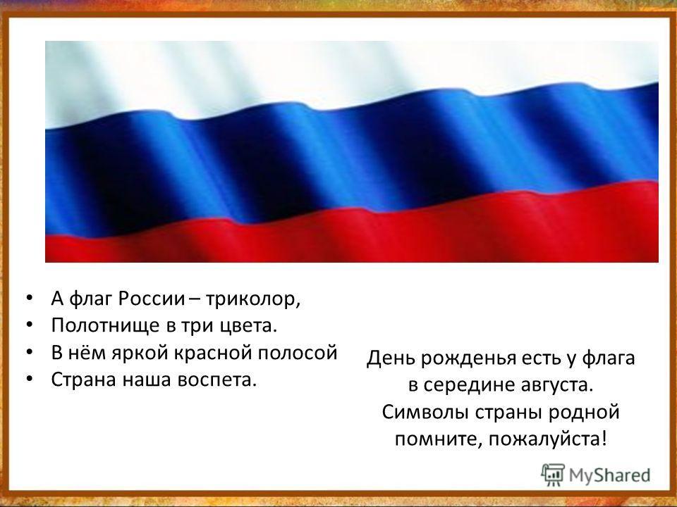 День рожденья есть у флага в середине августа. Символы страны родной помните, пожалуйста! А флаг России – триколор, Полотнище в три цвета. В нём яркой красной полосой Страна наша воспета.