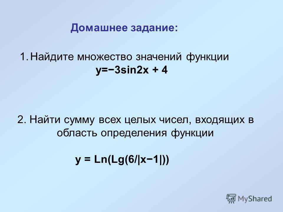 Домашнее задание: 1.Найдите множество значений функции y=3sin2x + 4 2. Найти сумму всех целых чисел, входящих в область определения функции y = Ln(Lg(6/|x1|))