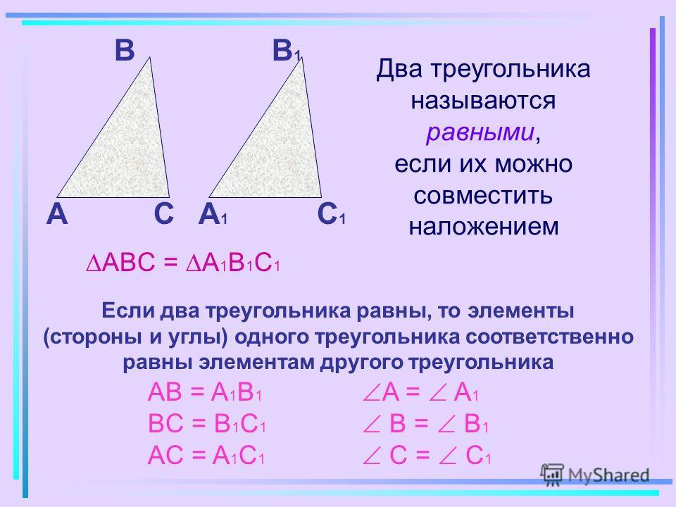 Два треугольника называются равными, если их можно совместить наложением А B CА1А1 B1B1 C1C1 ABC = A 1 B 1 C 1 Если два треугольника равны, то элементы (стороны и углы) одного треугольника соответственно равны элементам другого треугольника AB = A 1