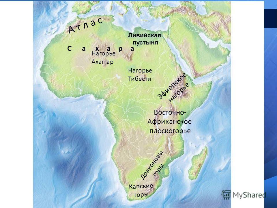 А т л а с Эфиопское нагорье Восточно- Африканское плоскогорье Капские горы Драконовы горы Нагорье Ахаггар Нагорье Тибести С а х а р а Ливийская пустыня