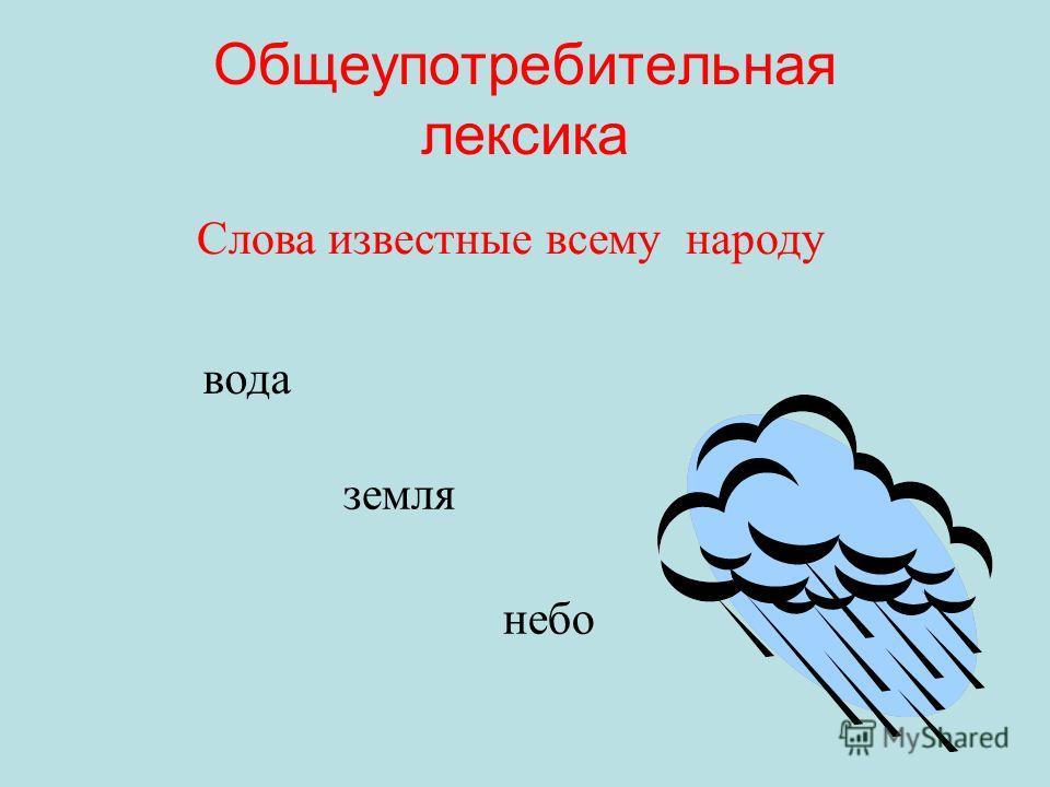 Общеупотребительная лексика Слова известные всему народу вода земля небо