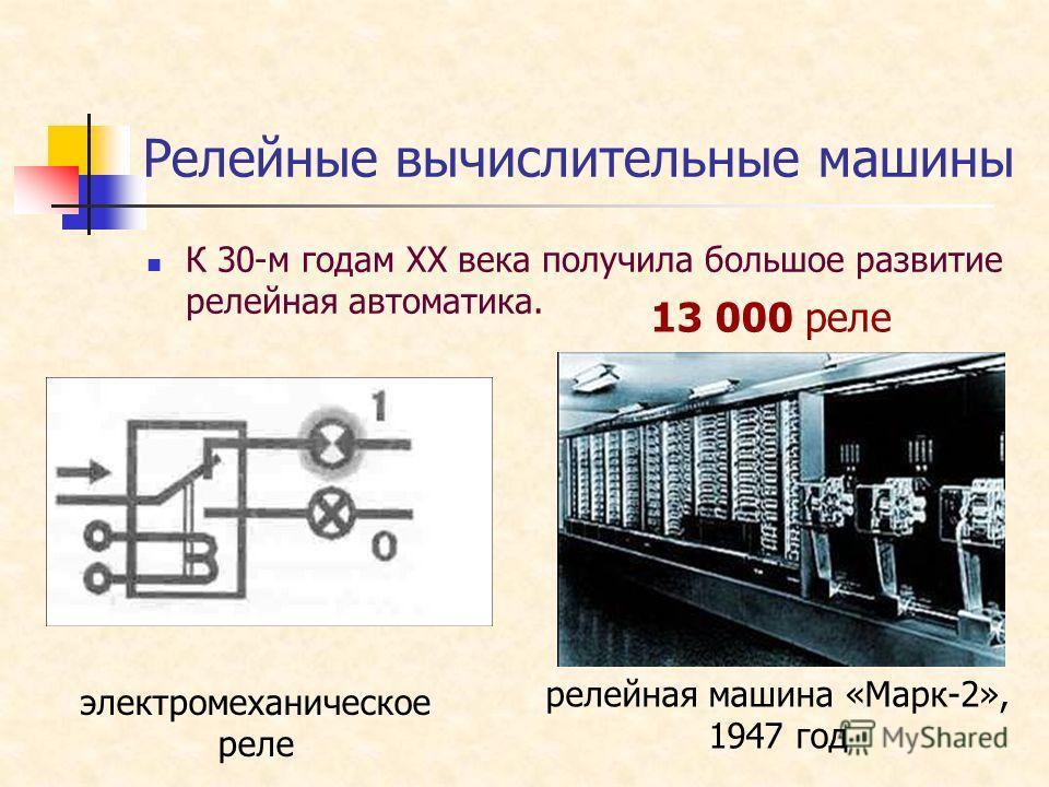 Релейные вычислительные машины К 30-м годам XX века получила большое развитие релейная автоматика. электромеханическое реле релейная машина «Марк-2», 1947 год 13 000 реле