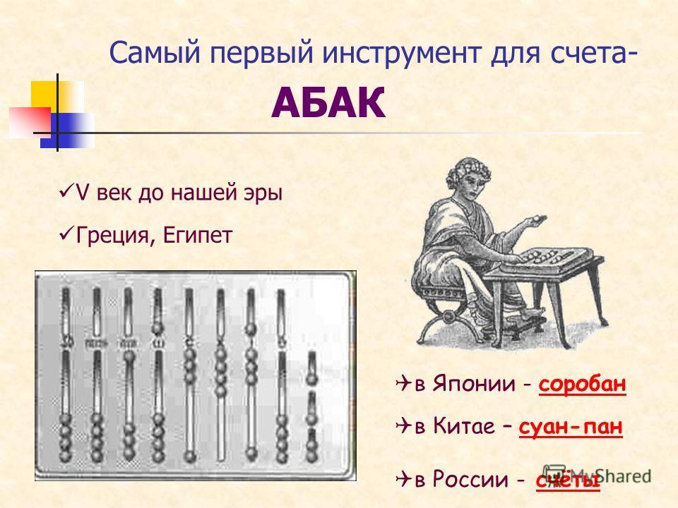 Самый первый инструмент для счета- АБАК V век до нашей эры в Японии - соробансоробан в Китае – суан-пансуан-пан Греция, Египет в России - счётысчёты