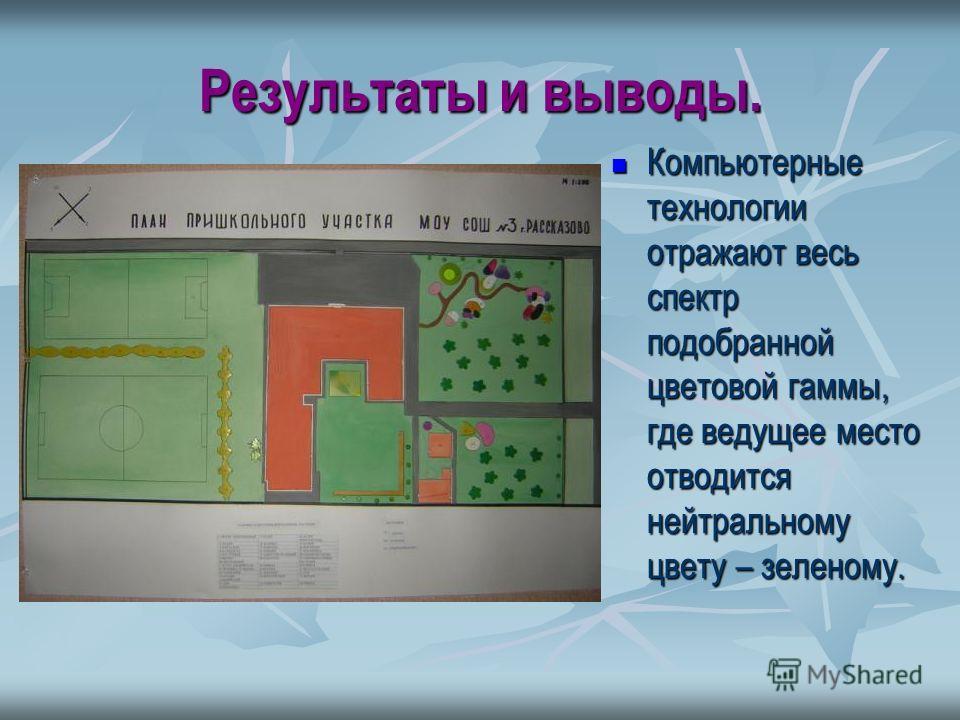 Результаты и выводы. Компьютерные технологии отражают весь спектр подобранной цветовой гаммы, где ведущее место отводится нейтральному цвету – зеленому. Компьютерные технологии отражают весь спектр подобранной цветовой гаммы, где ведущее место отводи