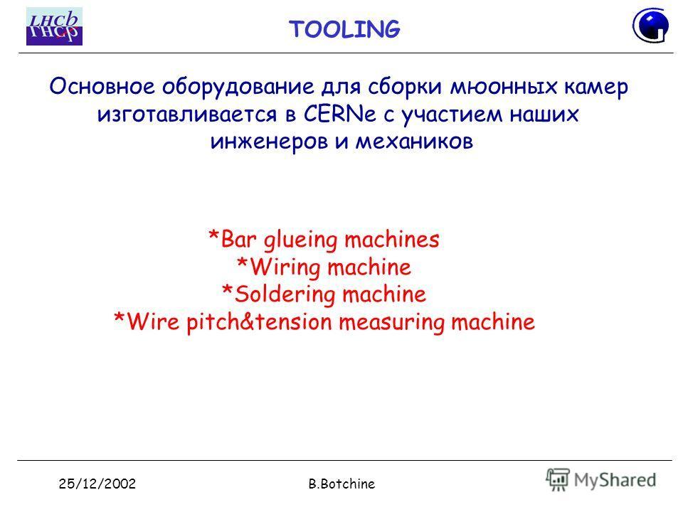 25/12/2002B.Botchine TOOLING *Bar glueing machines *Wiring machine *Soldering machine *Wire pitch&tension measuring machine Основное оборудование для сборки мюонных камер изготавливается в CERNе с участием наших инженеров и механиков
