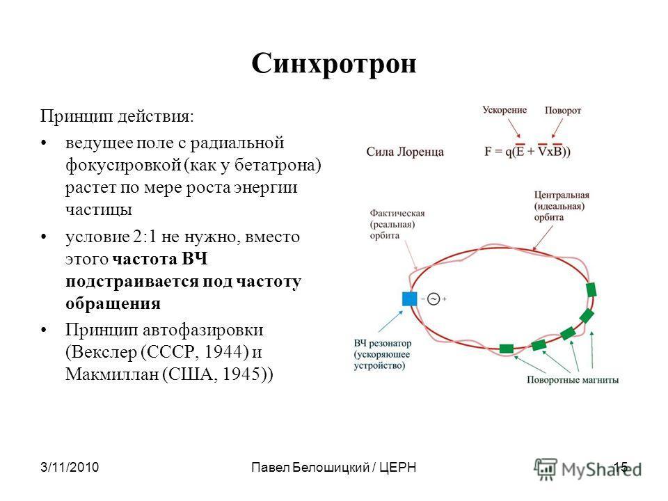 Синхротрон Принцип действия: ведущее поле с радиальной фокусировкой (как у бетатрона) растет по мере роста энергии частицы условие 2:1 не нужно, вместо этого частота ВЧ подстраивается под частоту обращения Принцип автофазировки (Векслер (СССР, 1944)