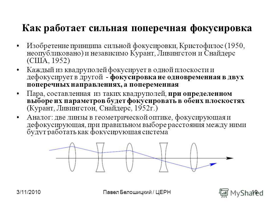 3/11/2010Павел Белошицкий / ЦЕРН19 Как работает сильная поперечная фокусировка Изобретение принципа сильной фокусировки, Кристофилос (1950, неопубликовано) и независимо Курант, Ливингстон и Снайдерс (США, 1952) Каждый из квадруполей фокусирует в одно