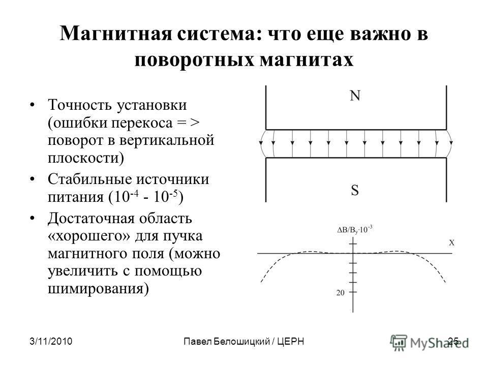 3/11/2010Павел Белошицкий / ЦЕРН25 Магнитная система: что еще важно в поворотных магнитах Точность установки (ошибки перекоса = > поворот в вертикальной плоскости) Стабильные источники питания (10 -4 - 10 -5 ) Достаточная область «хорошего» для пучка
