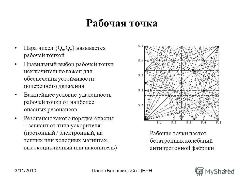 Рабочая точка Пара чисел {Q х,Q y } называется рабочей точкой Правильный выбор рабочей точки исключительно важен для обеспечения устойчивости поперечного движения Важнейшее условие-удаленность рабочей точки от наиболее опасных резонансов Резонансы ка