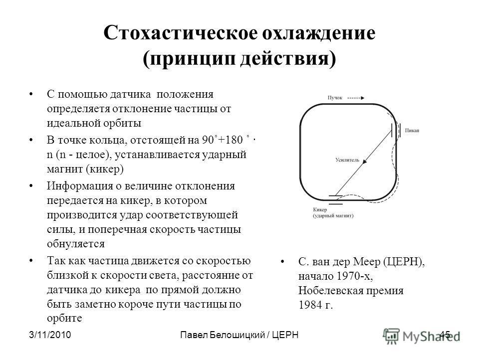 Стохастическое охлаждение (принцип действия) С помощью датчика положения определяетя отклонение частицы от идеальной орбиты В точке кольца, отстоящей на 90˚+180 ˚ · n (n - целое), устанавливается ударный магнит (кикер) Информация о величине отклонени