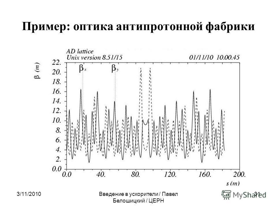 Пример: оптика антипротонной фабрики 3/11/2010Введение в ускорители / Павел Белошицкий / ЦЕРН 31