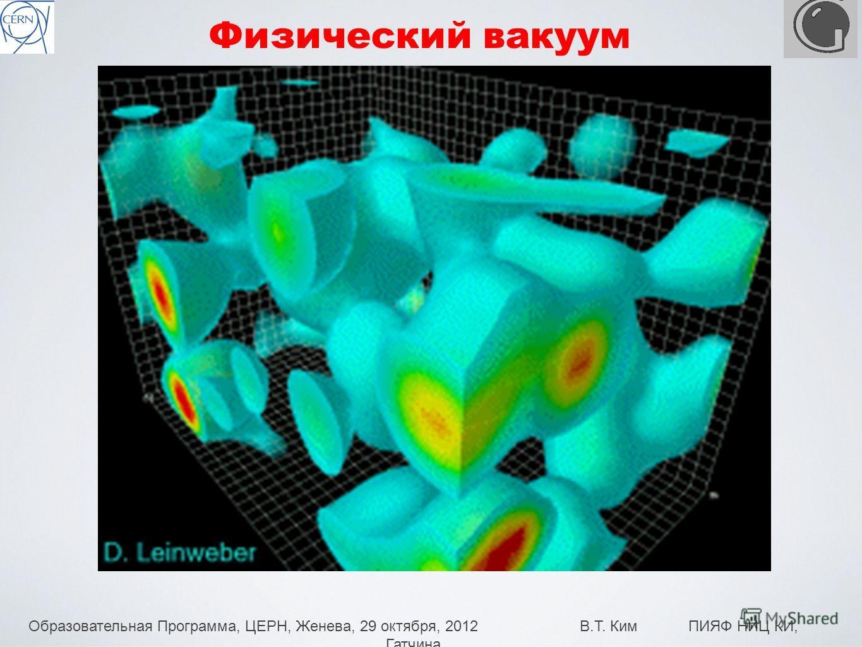 Образовательная Программа, ЦЕРН, Женева, 29 октября, 2012 В.Т. Ким ПИЯФ НИЦ КИ, Гатчина 21 Физический вакуум