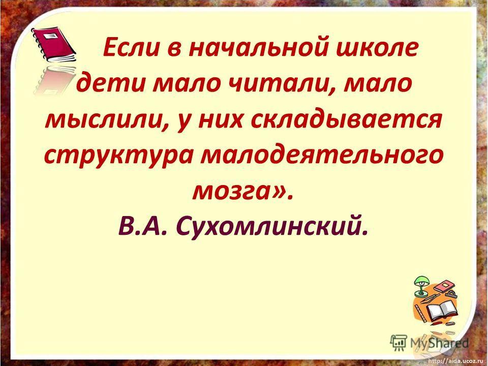 Если в начальной школе дети мало читали, мало мыслили, у них складывается структура малодеятельного мозга». В.А. Сухомлинский.