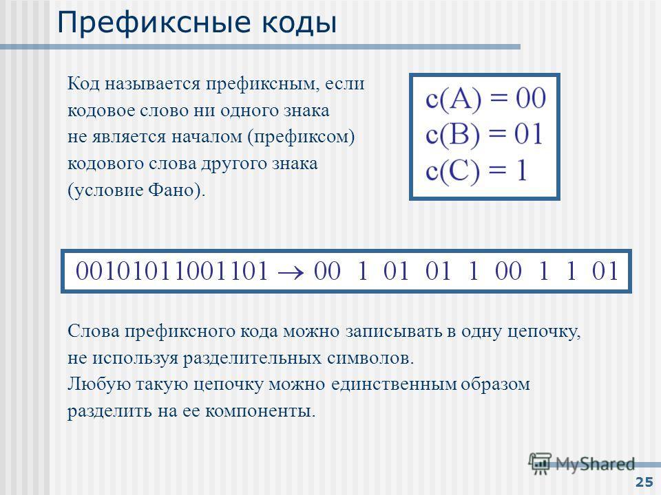 25 Префиксные коды Код называется префиксным, если кодовое слово ни одного знака не является началом (префиксом) кодового слова другого знака (условие Фано). Слова префиксного кода можно записывать в одну цепочку, не используя разделительных символов