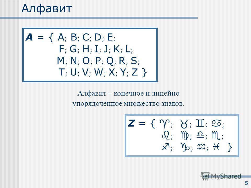 5 Алфавит Алфавит – конечное и линейно упорядоченное множество знаков. A = { A ; B ; C ; D ; E ; F ; G ; H ; I ; J ; K ; L ; M ; N ; O ; P ; Q ; R ; S ; T ; U ; V ; W ; X ; Y ; Z } Z = { ; ; ; ; ; ; ; ; ; ; ; }