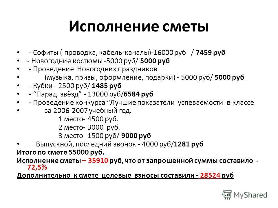 Исполнение сметы - Софиты ( проводка, кабель-каналы)-16000 руб / 7459 руб - Новогодние костюмы -5000 руб/ 5000 руб - Проведение Новогодних праздников (музыка, призы, оформление, подарки) - 5000 руб/ 5000 руб - Кубки - 2500 руб/ 1485 руб - Парад звёзд
