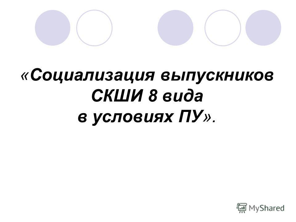 «Социализация выпускников СКШИ 8 вида в условиях ПУ».