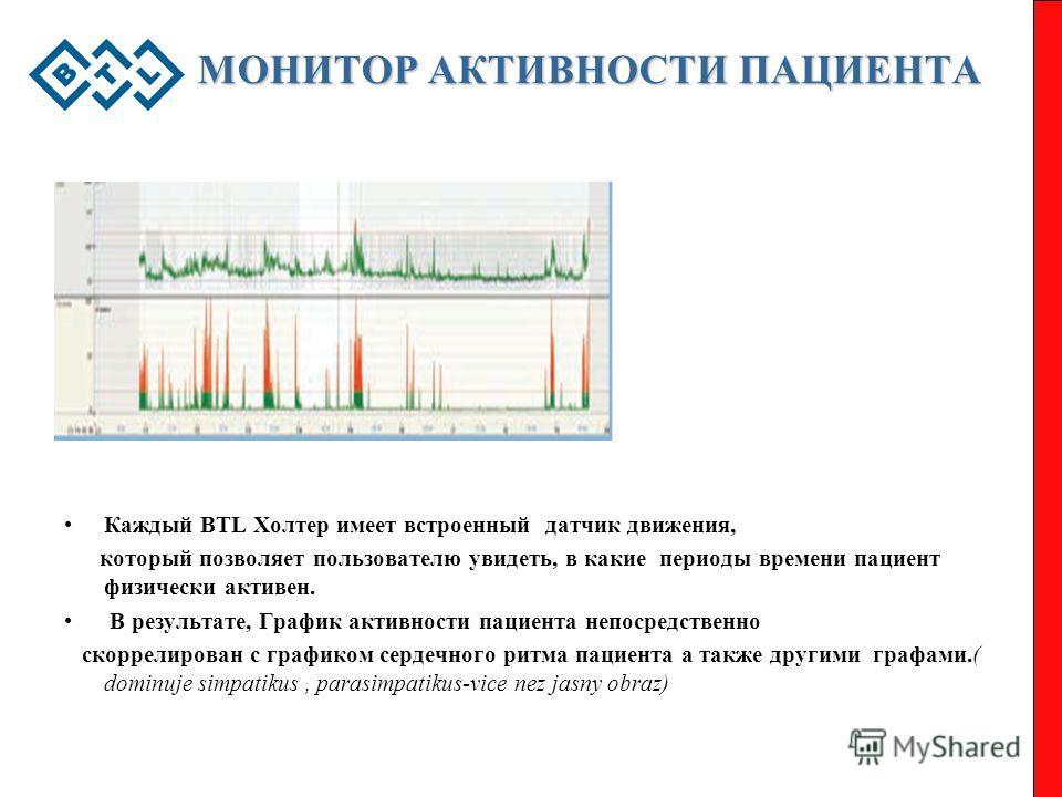 МОНИТОР АКТИВНОСТИ ПАЦИЕНТА Каждый BTL Холтер имеет встроенный датчик движения, который позволяет пользователю увидеть, в какие периоды времени пациент физически активен. В результате, График активности пациента непосредственно скоррелирован с график