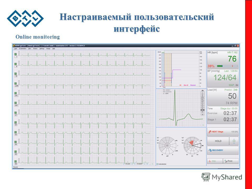 Настраиваемый пользовательский интерфейс Online monitoring