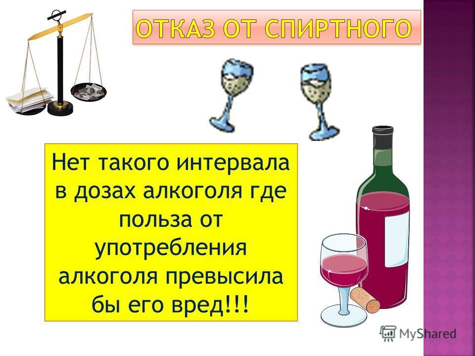 Нет такого интервала в дозах алкоголя где польза от употребления алкоголя превысила бы его вред!!!