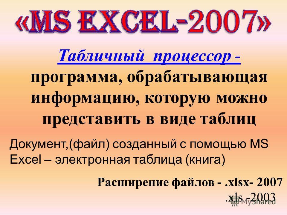 Табличный процессор - программа, обрабатывающая информацию, которую можно представить в виде таблиц Документ,(файл) созданный с помощью MS Excel – электронная таблица (книга) Расширение файлов -.xlsx- 2007.xls -2003