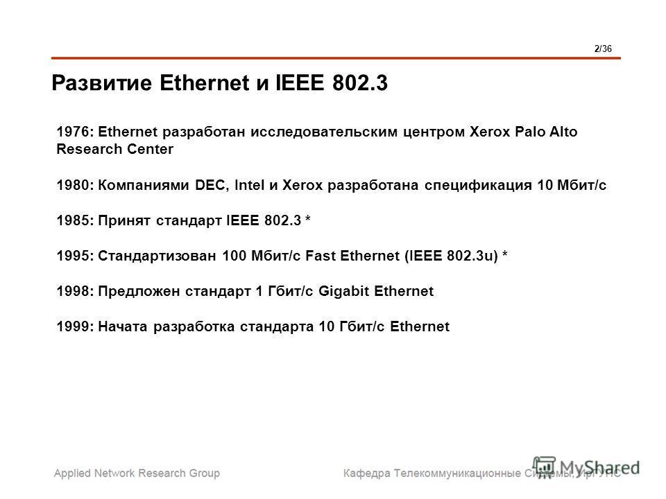 Развитие Ethernet и IEEE 802.3 1976: Ethernet разработан исследовательским центром Xerox Palo Alto Research Center 1980: Компаниями DEC, Intel и Xerox разработана спецификация 10 Мбит/с 1985: Принят стандарт IEEE 802.3 * 1995: Стандартизован 100 Мбит