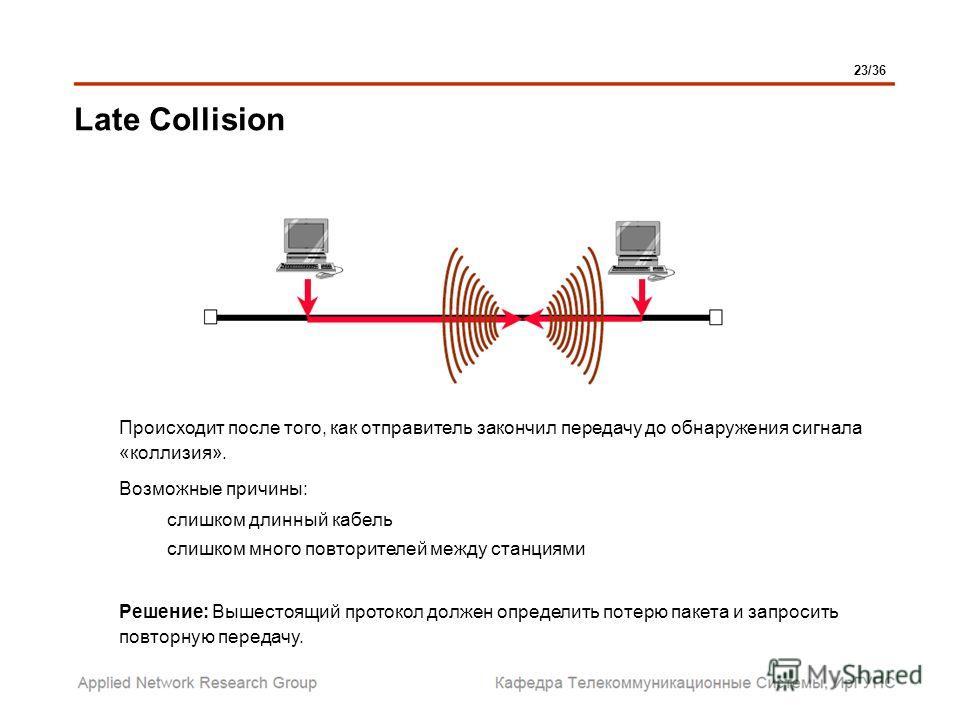 Late Collision Происходит после того, как отправитель закончил передачу до обнаружения сигнала «коллизия». Возможные причины: слишком длинный кабель слишком много повторителей между станциями Решение: Вышестоящий протокол должен определить потерю пак