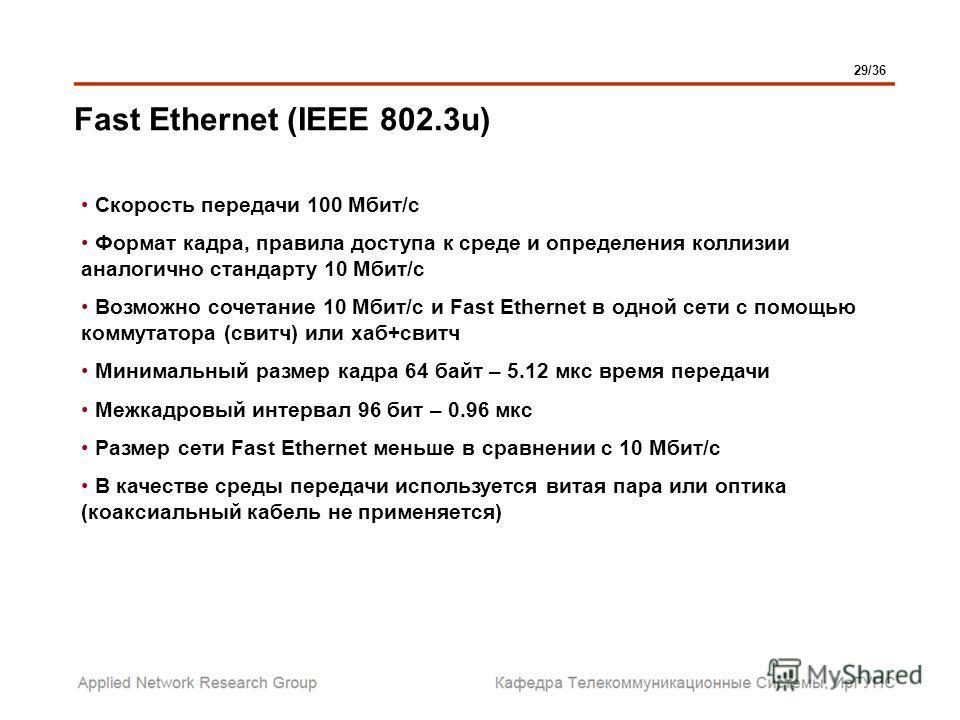 Fast Ethernet (IEEE 802.3u) Скорость передачи 100 Мбит/с Формат кадра, правила доступа к среде и определения коллизии аналогично стандарту 10 Мбит/с Возможно сочетание 10 Мбит/с и Fast Ethernet в одной сети с помощью коммутатора (свитч) или хаб+свитч
