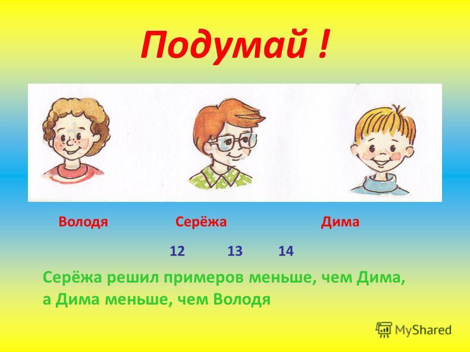 Подумай ! Володя Серёжа Дима 12 13 14 Серёжа решил примеров меньше, чем Дима, а Дима меньше, чем Володя