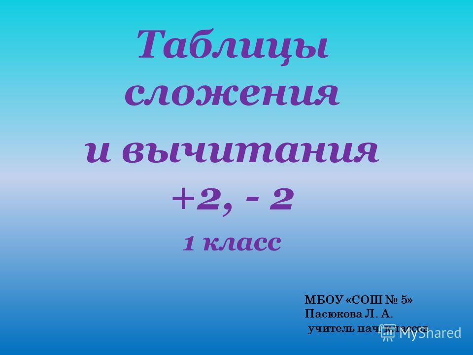 Таблицы сложения и вычитания +2, - 2 1 класс МБОУ «СОШ 5» Пасюкова Л. А. учитель нач. классов