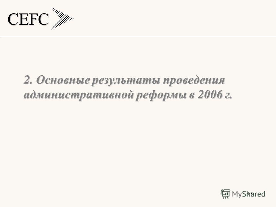 CEFC 13 2. Основные результаты проведения административной реформы в 2006 г.