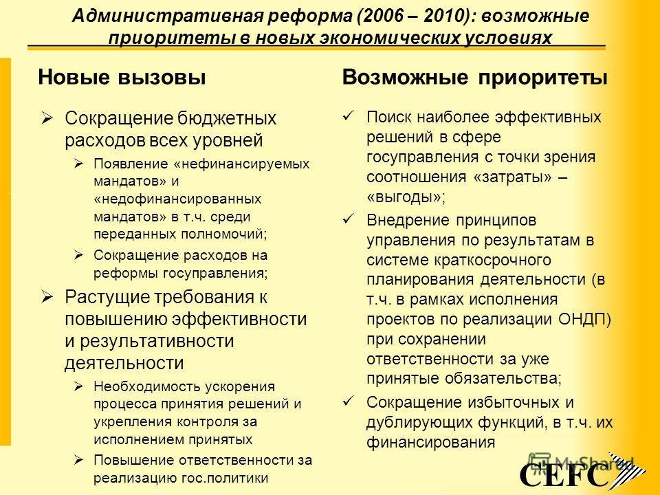 Административная реформа (2006 – 2010): возможные приоритеты в новых экономических условиях Новые вызовы Сокращение бюджетных расходов всех уровней Появление «нефинансируемых мандатов» и «недофинансированных мандатов» в т.ч. среди переданных полномоч