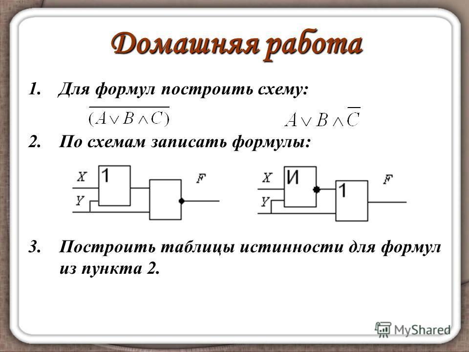 Домашняя работа 1.Для формул построить схему: 2.По схемам записать формулы: 3.Построить таблицы истинности для формул из пункта 2.