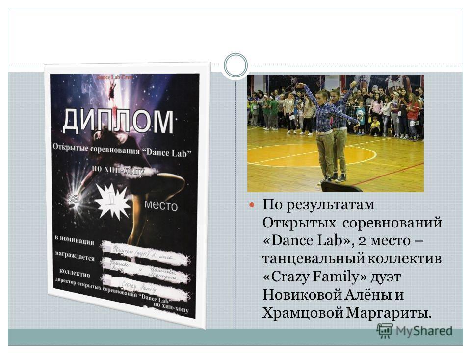 По результатам Открытых соревнований «Dance Lab», 2 место – танцевальный коллектив «Crazy Family» дуэт Новиковой Алёны и Храмцовой Маргариты.