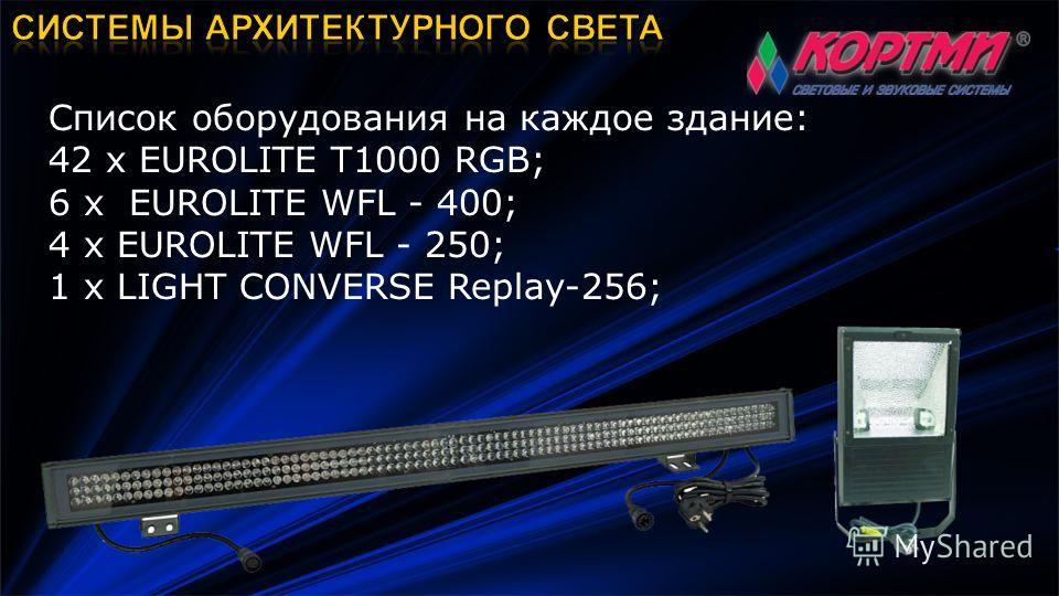Список оборудования на каждое здание: 42 х EUROLITE T1000 RGB; 6 х EUROLITE WFL - 400; 4 х EUROLITE WFL - 250; 1 х LIGHT CONVERSE Replay-256;