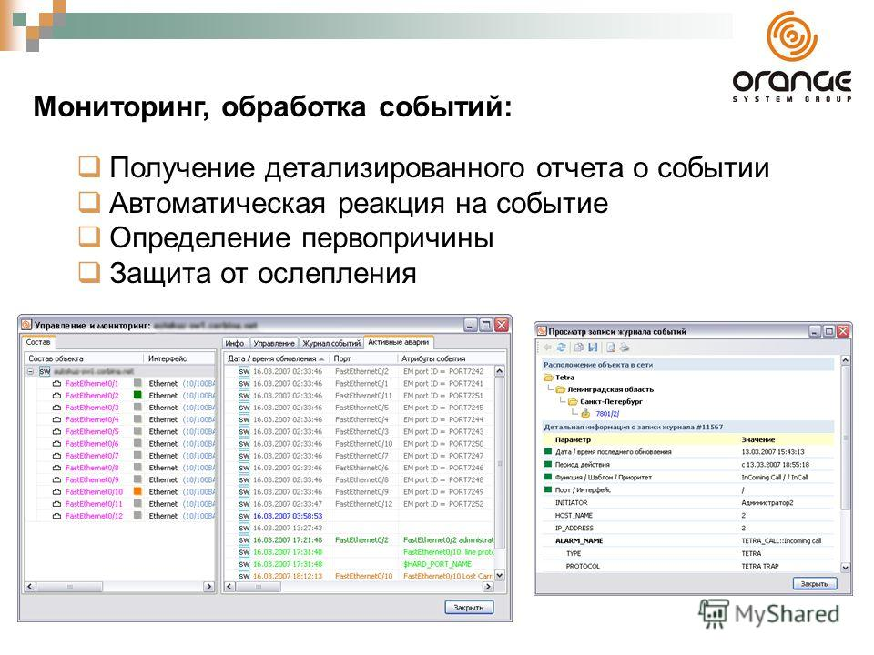 Мониторинг, обработка событий: Получение детализированного отчета о событии Автоматическая реакция на событие Определение первопричины Защита от ослепления