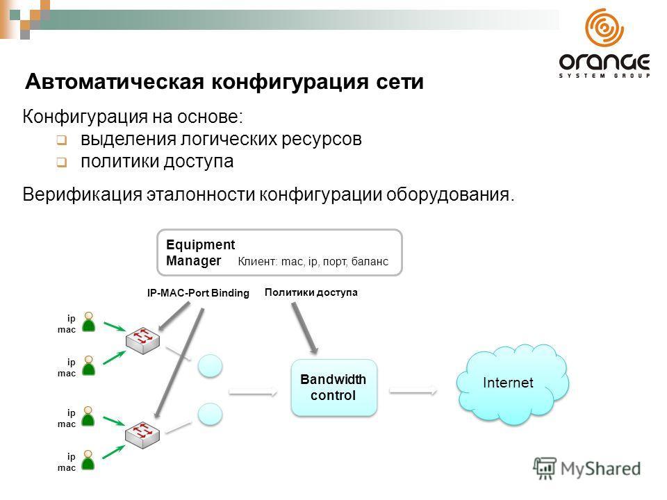 Автоматическая конфигурация сети Конфигурация на основе: выделения логических ресурсов политики доступа Верификация эталонности конфигурации оборудования. Equipment Manager Internet ip mac ip mac ip mac ip mac Bandwidth control Политики доступа IP-MA