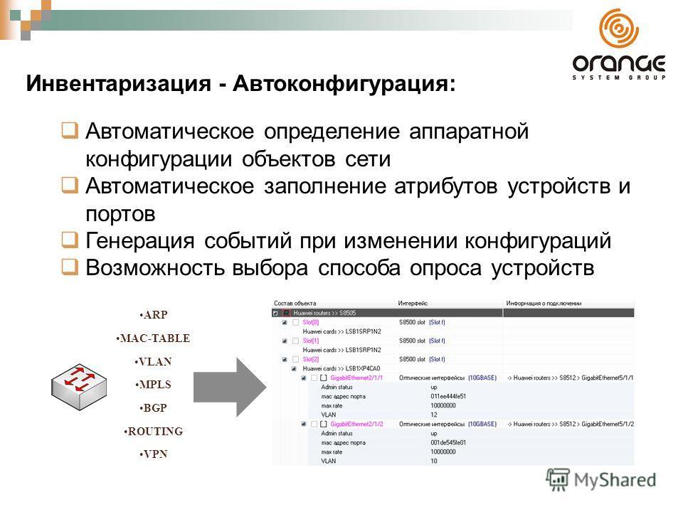 Инвентаризация - Автоконфигурация: Автоматическое определение аппаратной конфигурации объектов сети Автоматическое заполнение атрибутов устройств и портов Генерация событий при изменении конфигураций Возможность выбора способа опроса устройств ARP MA