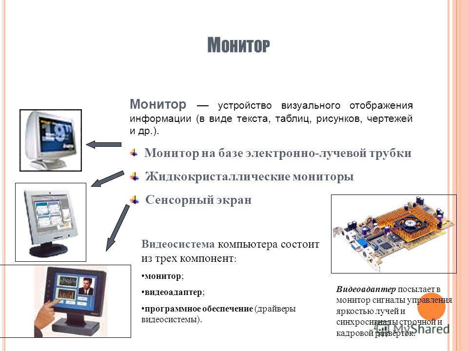 М ОНИТОР Монитор устройство визуального отображения информации (в виде текста, таблиц, рисунков, чертежей и др.). Монитор на базе электронно-лучевой трубки Жидкокристаллические мониторы Сенсорный экран Видеосистема компьютера состоит из трех компонен