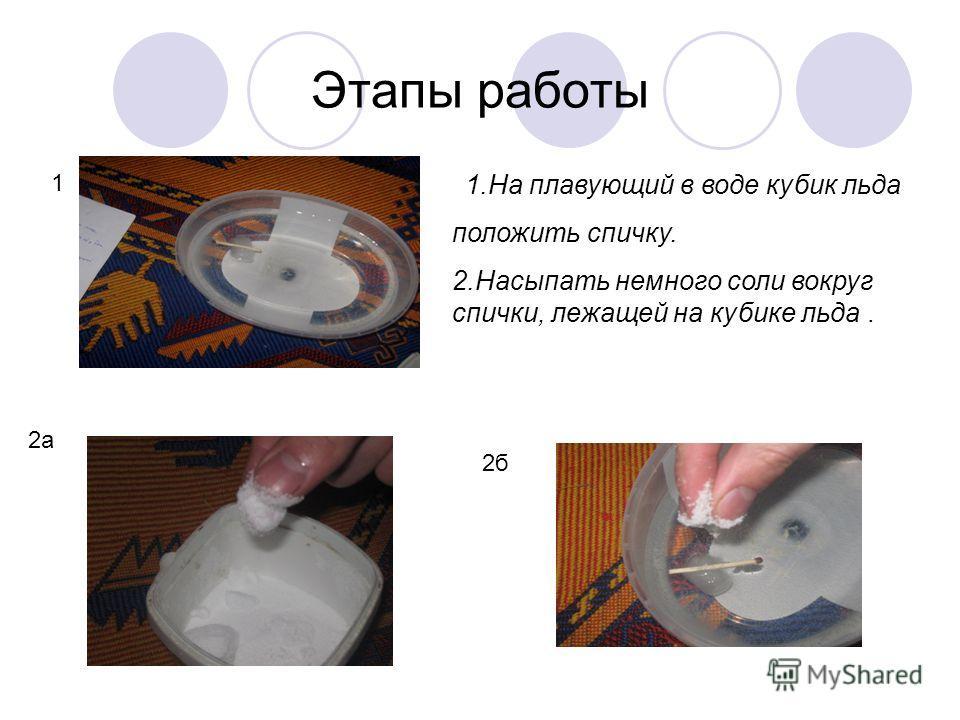 Этапы работы 1.На плавующий в воде кубик льда положить спичку. 2.Насыпать немного соли вокруг спички, лежащей на кубике льда. 1 2а 2б