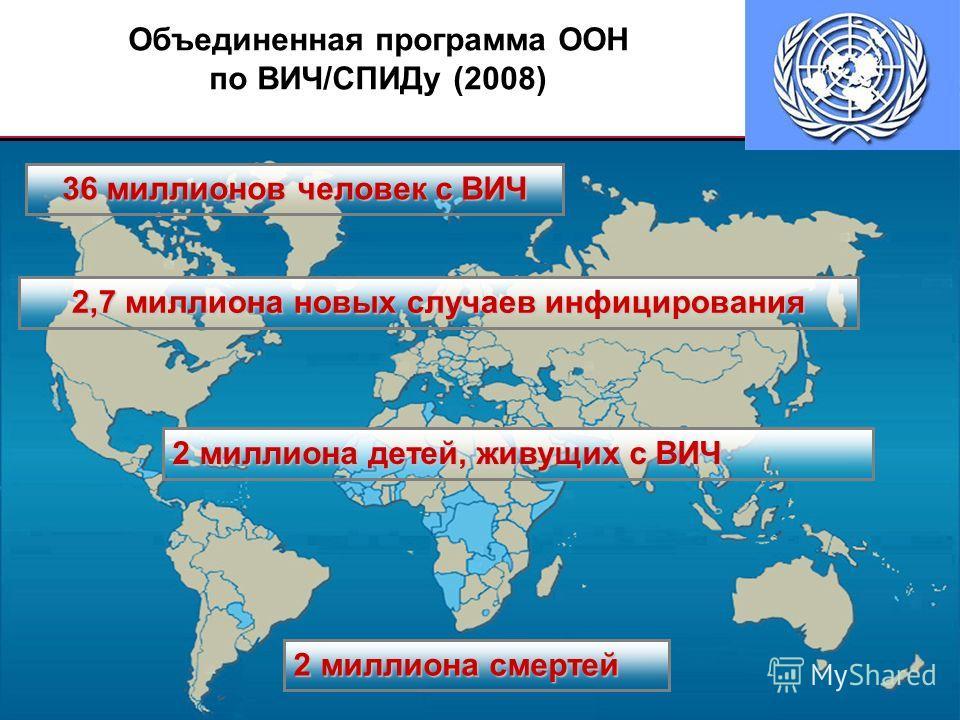Объединенная программа ООН по ВИЧ/СПИДу (2008) 36 миллионов человек с ВИЧ 2,7 миллиона новых случаев инфицирования 2 миллиона смертей 2 миллиона детей, живущих с ВИЧ
