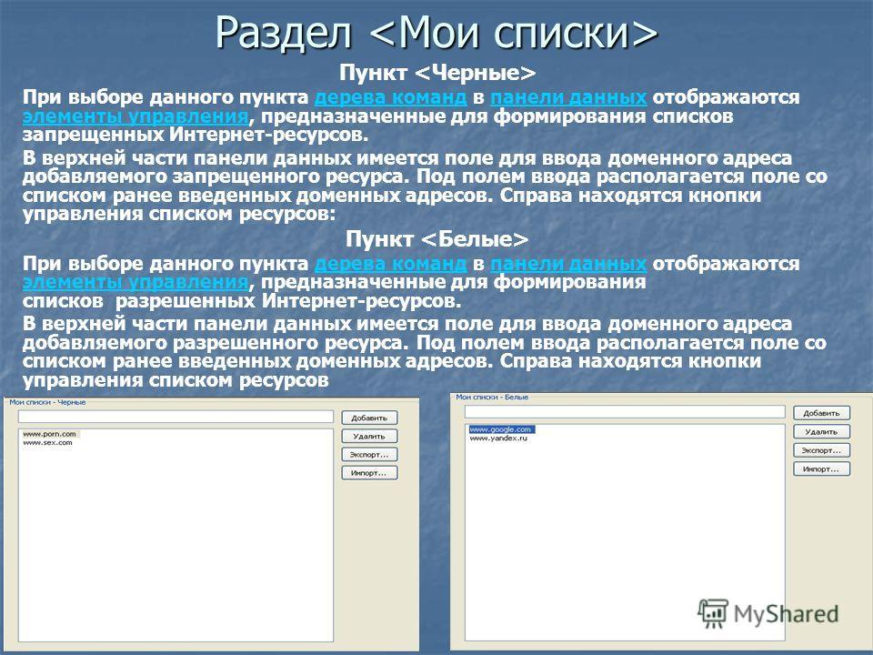 Раздел Раздел Пункт При выборе данного пункта дерева команд в панели данных отображаются элементы управления, предназначенные для формирования списков запрещенных Интернет-ресурсов.дерева командпанели данных элементы управления В верхней части панели