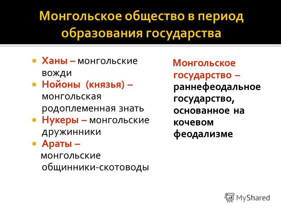 Ханы – монгольские вожди Нойоны (князья) – монгольская родоплеменная знать Нукеры – монгольские дружинники Араты – монгольские общинники-скотоводы Монгольское государство – раннефеодальное государство, основанное на кочевом феодализме