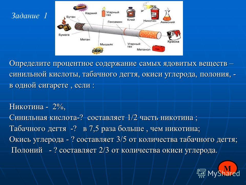 Определите процентное содержание самых ядовитых веществ – синильной кислоты, табачного дегтя, окиси углерода, полония, - в одной сигарете, если : Никотина - 2%, Синильная кислота-? составляет 1/2 часть никотина ; Табачного дегтя -? в 7,5 раза больше,