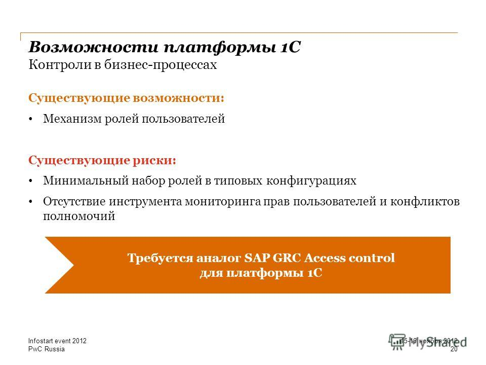 PwC Russia Возможности платформы 1С Контроли в бизнес-процессах Существующие возможности: Механизм ролей пользователей Существующие риски: Минимальный набор ролей в типовых конфигурациях Отсутствие инструмента мониторинга прав пользователей и конфлик