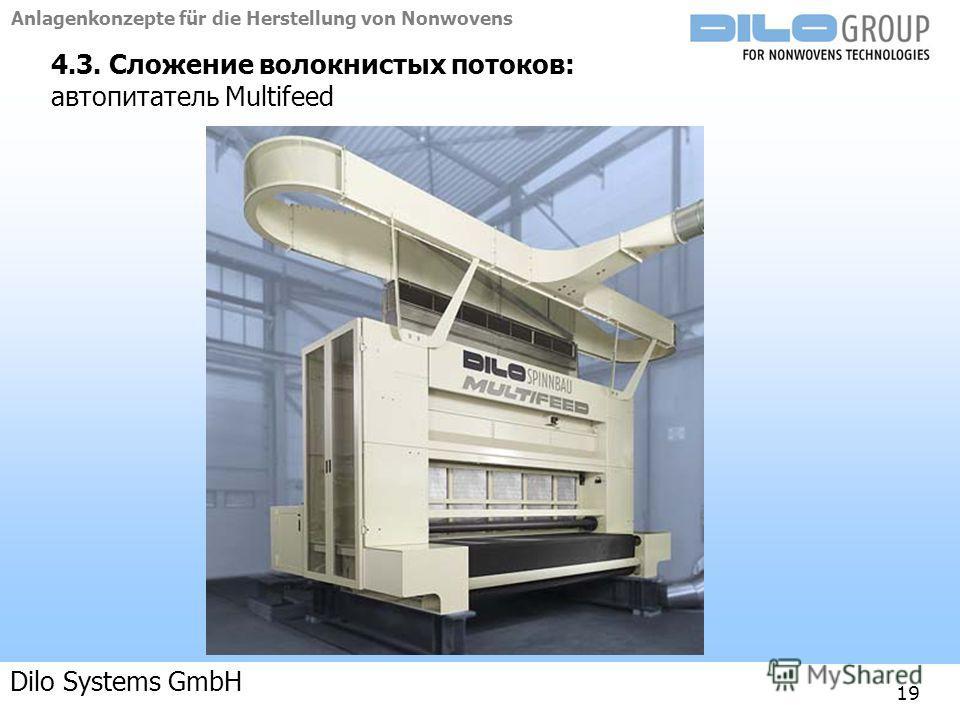 Anlagenkonzepte für die Herstellung von Nonwovens 04-09 | BE/beka |Anlagenkonzepte 19 4.3. Сложение волокнистых потоков: автопитатель Multifeed Dilo Systems GmbH