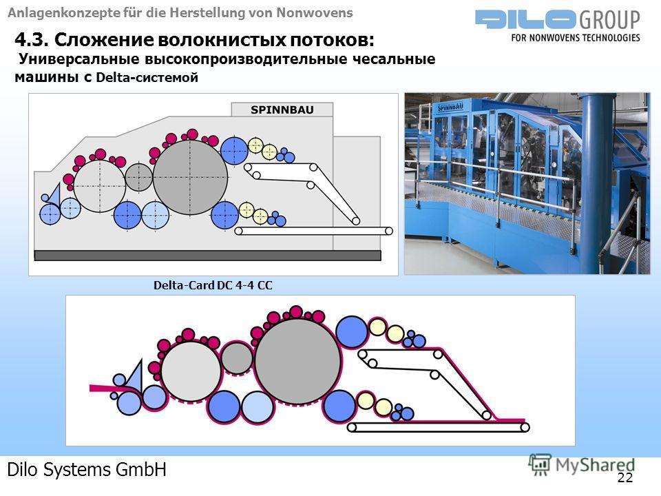 Anlagenkonzepte für die Herstellung von Nonwovens 04-09 | BE/beka |Anlagenkonzepte 22 4.3. Сложение волокнистых потоков: Универсальные высокопроизводительные чесальные машины с Delta-системой Delta-Card DC 4-4 CC Dilo Systems GmbH